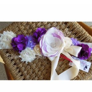 Purple and white Floral Wedding Maternity Sash